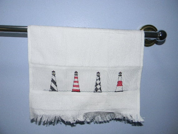 Completed Cross Stitch Light House Cross Stitch Hand Towel