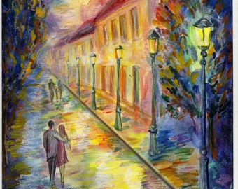 """Print of Watercolour and Pastels Painting """"Evening after rain"""" Signed by author"""