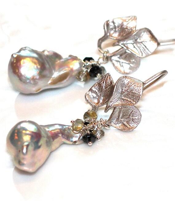 Baroque Pearl Earrings Large Pearl Earrings Grey Sapphire Real Black Diamond Silver Leaf Earrings Gemstone Jewelry