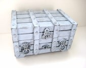 Upcycled Jewelry Box - Grey Wooden Chest - Rustic Decor