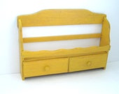 Hanging Storage Shelf - Bright Mustard Yellow - Vintage Upcycled - Spice Rack