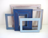 Shabby Chic Photo Frames - Blue - Gallery of 5 - Cottage Beachy Distressed