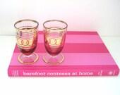 Gold Rimmed Glasses - Set - Mid Century Vintage - Pink Glass