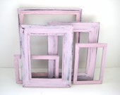 Pink Picture Frames - Gallery of 5 - With Glass - Shabby Chic Distressed