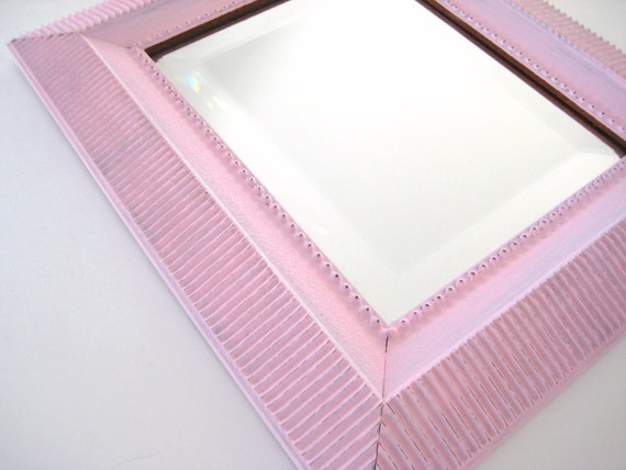 Pink Shabby Chic Mirror - French Country - 13x15