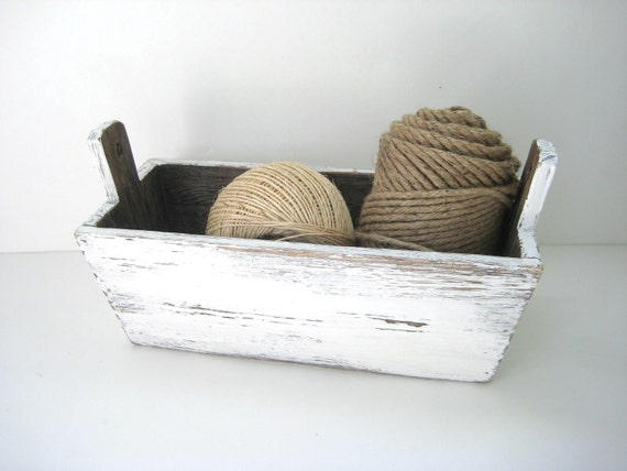 Rustic White Box - Distressed Wooden Storage Box - Upcycled