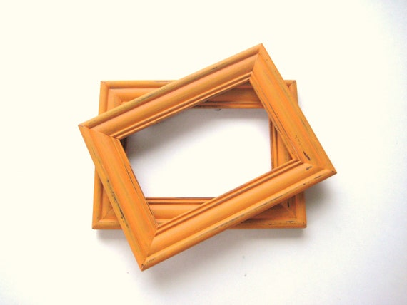 Tangerine Orange Picture Frames - 5x7 - Distressed OOAK Upcycled