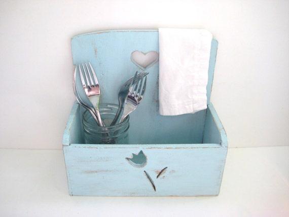 Mail Holder Storage Box - Robins Egg Blue - Shabby Chic Home Decor