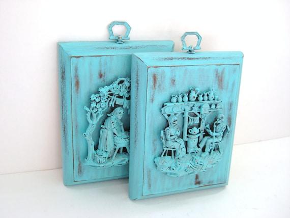SALE - Turquoise Wall Plaques - Unique Vintage Decor - Shabby Chic Patina