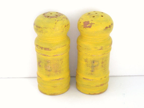 Mustard Yellow - Salt and Pepper Shakers - Shabby Chic Kitchen Decor