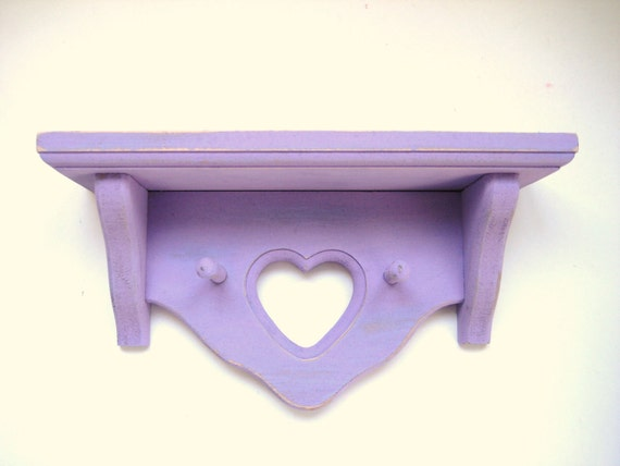 SALE - Wall Shelf with Hooks - Purple - Country Home Decor - Upcycled Distressed