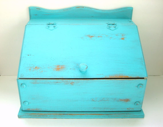 Turquoise Bread Box - Shabby Chic Distressed Rustic - Kitchen Decor