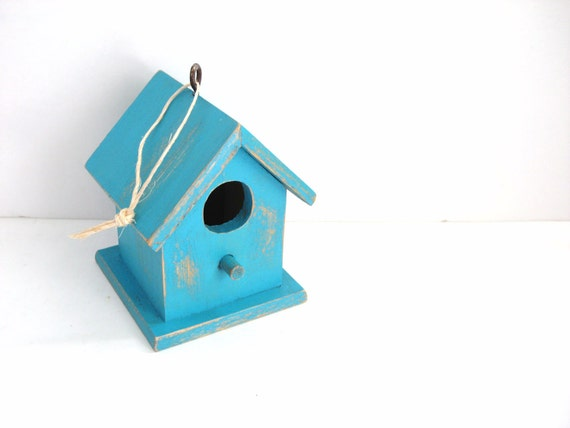 Turquoise Birdhouse - Shabby Chic Distressed - Upcycled Home Decor