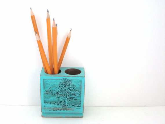 Turquoise Pencil Holder  - Unique Engraved Tree - Office Organization