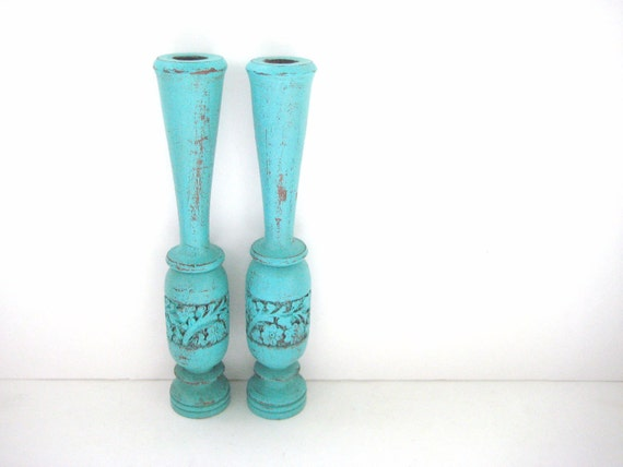 Shabby Chic Candlesticks - Upcycled - Turquoise Distressed Engraved