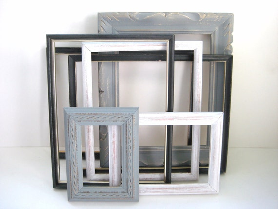 Shabby Chic Picture Frames - Gallery of 7 - Black White Grey - Distressed - Wedding