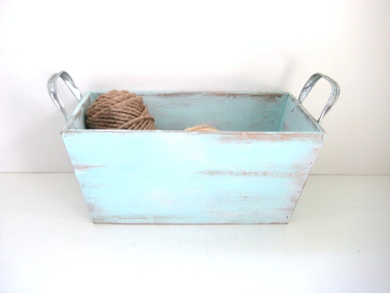 Shabby Chic Box - Robins Egg Blue - Distressed Upcycled Beachy - Storage Organization