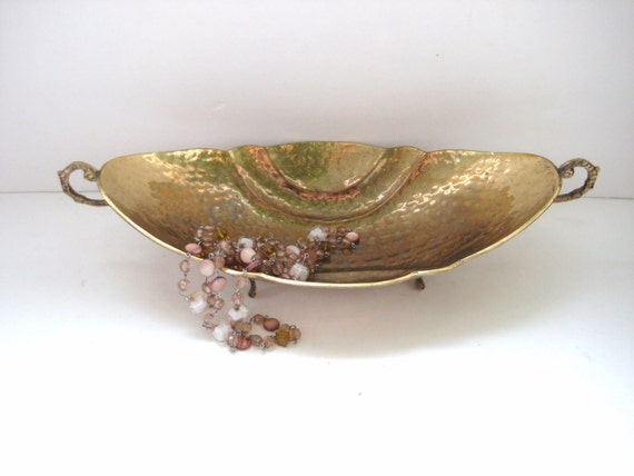 SALE - Vintage Brass Bowl with Feet - Ornate - Patina - Unique Home Decor