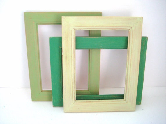 Green Photo Frames - Gallery of 3 - 5x7 Picture Frames - Shabby Distressed