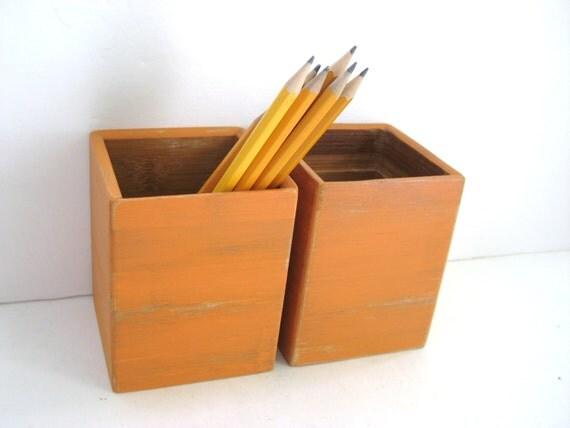 Tangerine Orange Pencil Holder - Pair of 2 - Office Organization - Shabby Chic Desk