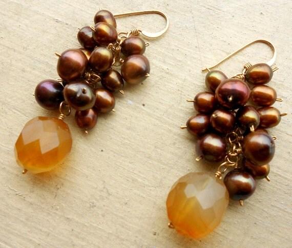 Kingfisher Earrings- Chalcedony and Pearl