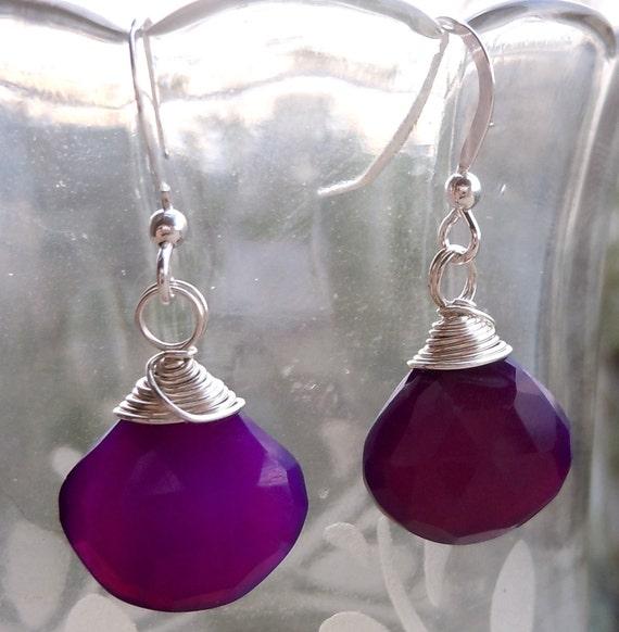Lisanthus Earrings- Purple Chalcedony