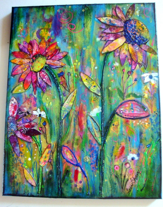 "Mixed media on canvas, Original 18 x 14 by Terri Chaney  ""Life Springing Up""  dimensional floral painting"