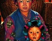 Fine Art Print, Himalayan Endurance, Mother and Child, Giclee Print, Pastel Painting By Jan Maitland, Rose, Blue, Terracotta, Baskets, Yurt