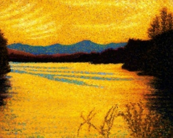 Fine Art Giclee Print, Amber Light, Golden Lake, Sunset, Blue Mountains, Pastel Painting By Jan Maitland, Landscape, Archival Print, 8 X 10