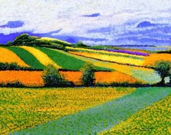 "Fine Art Giclee Print, Pastel Painting By Jan Maitland, Quilted Fields, Gold & Green Landscape, Clouds in the Sky, Archival Print, 8"" X 10"""