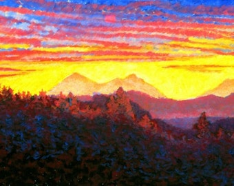 Mountains Fine Art Giclee Print, Three Sisters Mountains at Dawn, Pastel By Jan Maitland, Landscape, Giclee Print, Mountains, Sunrise