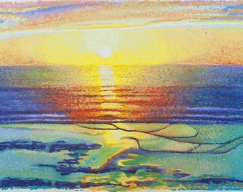 Ocean Sunset Fine Art Giclee Print, Sunset, Pastel Painting By Jan Maitland, Pacific Ocean, Seascape, Gold, Blue, Orange, Peach, Turquoise