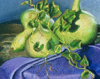 Still Life with Gourds Fine Art Print, Gourds, Still Life, Giclee Print, Pastel Painting By Jan Maitland, Green, Lavender, Tablecloth, 8x10