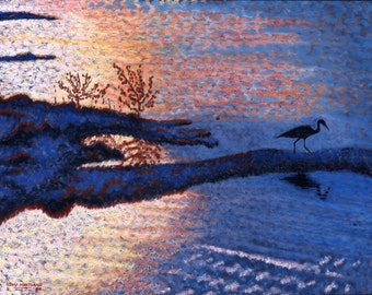 Blue Heron Fine Art Giclee Print, Bird on Blue Waters at Sunset, Bird Silhouette, Pastel Painting By Jan Maitland, Sunset, Seascape, 8x10
