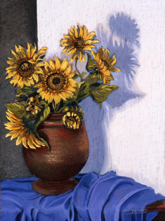 Sunflowers Fine Art Giclee Print, Still Life With Sunflowers, Pastel Painting By Jan Maitland, Blue, Copper, Shadow, Still Life, 8 X 10