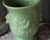 Vintage Pretty Green McCoy Bird Vase