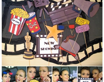 movie photo booth props - perfect for a movie night, oscar bash, hollywood party or cinema birthday