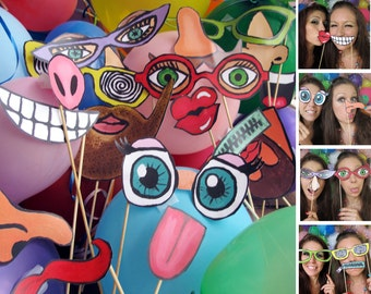 funny and silly faces photo booth props - cartoon style perfect for a birthday party