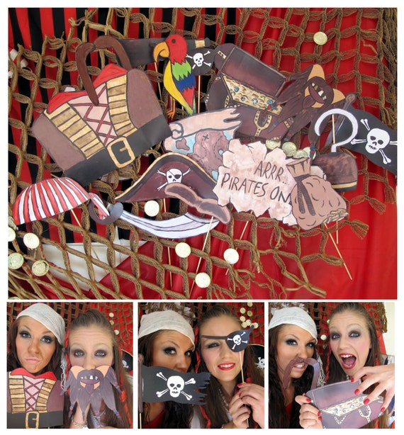 pirates photo booth props - arrrrrrr - perfect for a pirate party or pirates of the caribbean bash