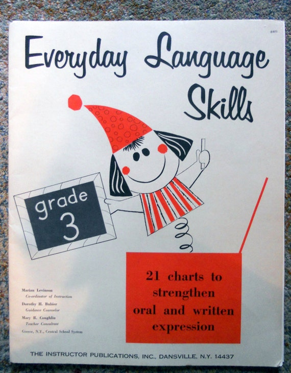 Folder of Vintage 1960 Teacher's Instructional Supplies titled Everday Language Skills for Grade 3
