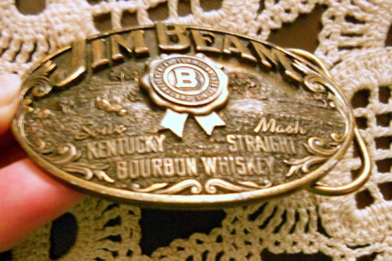 "Vintage ""Limited Edition"" Jim Beam Sour Mash Kentucky Straight Bourbon Whiskey Belt Buckle for Father's Day"
