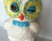 Owl Cookie Jar in Aqua, Turquoise and Green