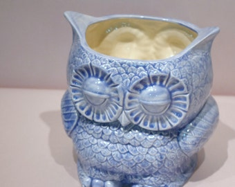 Owl Planter using vintage mold  Blue