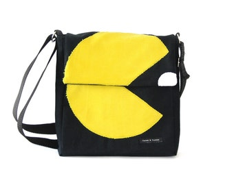 Black Pacman Messenger Bag