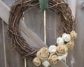 "18"" Natural Tan and Cream Burlap Rosette Grapevine Wreath OR Create Your Own Wreath"