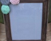 """8""""x10"""" Mint, Light Pink and Grey Rosette Distressed Wood Picture Frame OR Create Your Own Frame"""