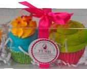 Sweet Tush Whimsical Fun 4 Piece Cupcake Bath Bomb Gift Set