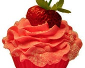 Sweet Tush Sugared Strawberry Fizzy Cupcake Bath Bomb Favor/Gift