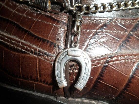 BOOT BRACELET Good Luck Horseshoe charm hangs on a swivel  / silver on copper