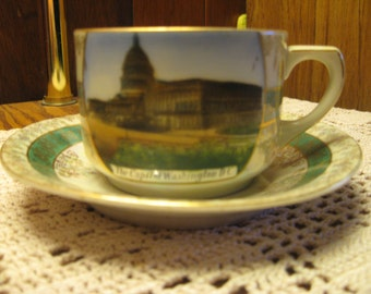 The Capitol Washington DC cup and saucer, hand painted, Made in Germany